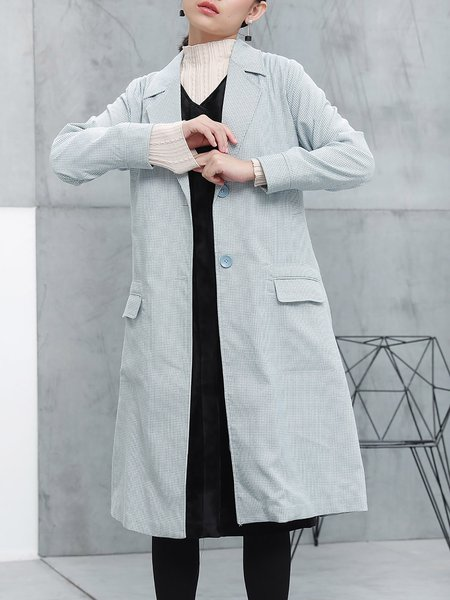 Simple Checkered Long Sleeve Folds Coat