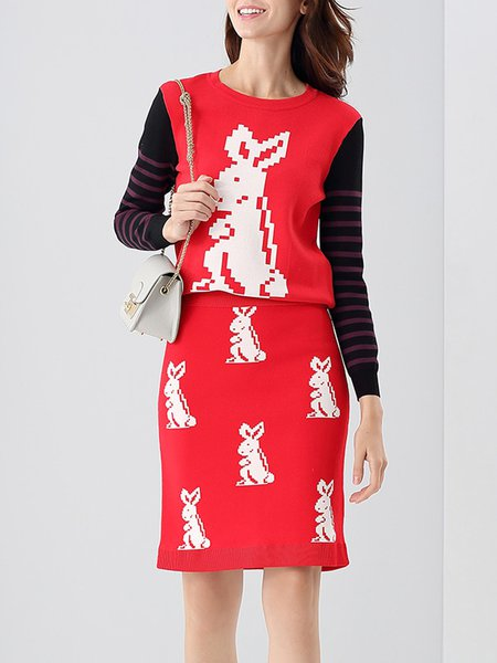 Red Paneled Rabbit Printed Two Piece Midi Dress