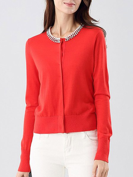 Red Crew Neck Solid Beaded Long Sleeve Wool Cardigan
