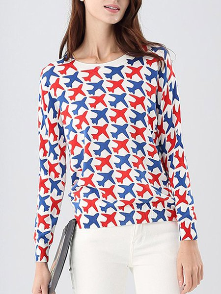 White Printed Cotton Cute Long Sleeved Top