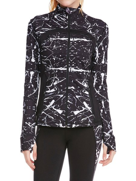 Black Stretchy Abstract Printed Zipper Stand Collar Jacket
