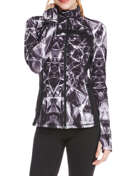 Gray Abstract Printed Stand Collar Zipper Wicking  Jacket
