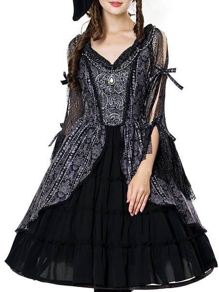 Black Tribal V Neck Swing 3/4 Sleeve Midi Dress with Shoulder Chain