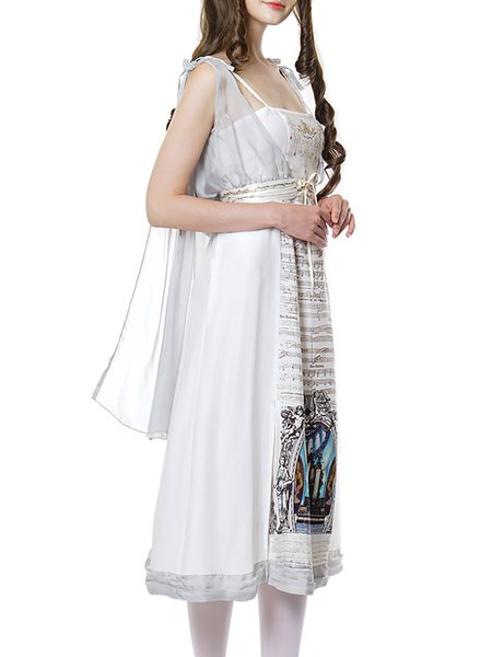 White Silk-chiffon Gothic Retro Goddess Three PCS Midi Dress