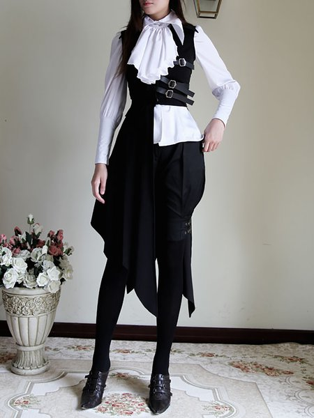 Black Solid Statement Pleated Bias Bottom Long Unisex Vest