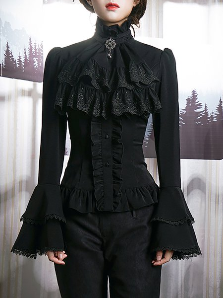 Lace Up Back Wide Double Layer Cuffs Solid Blouse