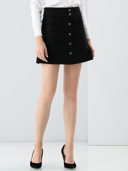 Black Cotton Casual Buttoned A-line Mini Skirt