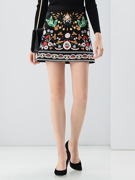 Black Cute Floral A-line Embroidered Mini Skirt