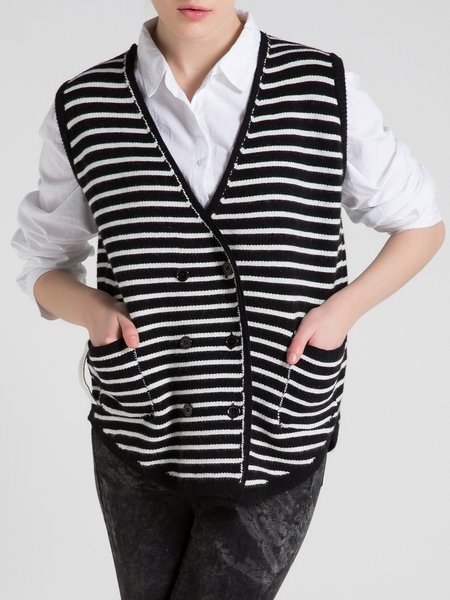 Black Printed Knitted Casual Stripes Vest