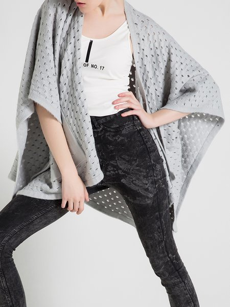 Gray Wool Blend Casual Pierced H-line Cape