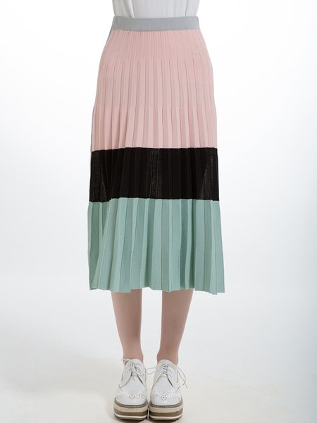 Pink Linen Casual A-line Color Block Pleated Midi Skirt