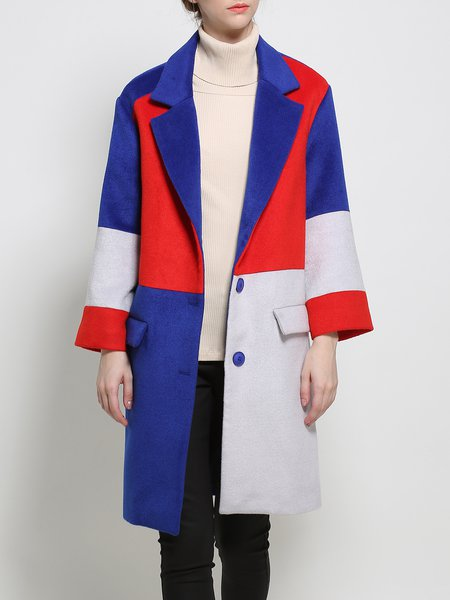 Lapel Long Sleeve Simple Wool Blend Color-block Coat