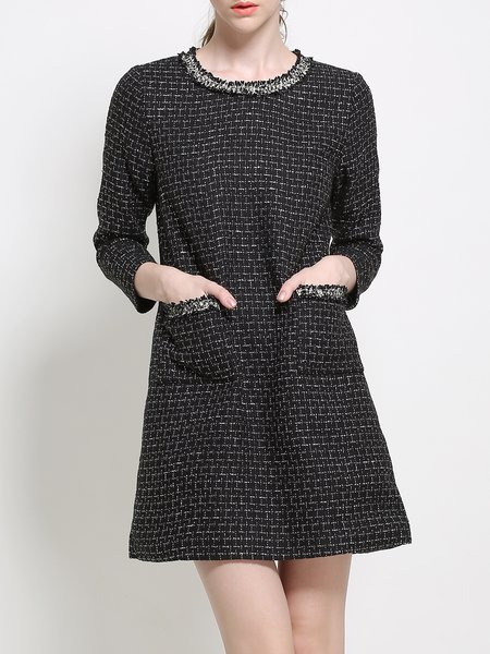 Long Sleeve Crew Neck Pockets Casual H-line Mini Dress
