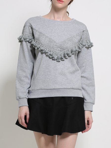 Gray Crew Neck Long Sleeve Lace Paneled Sweatshirt