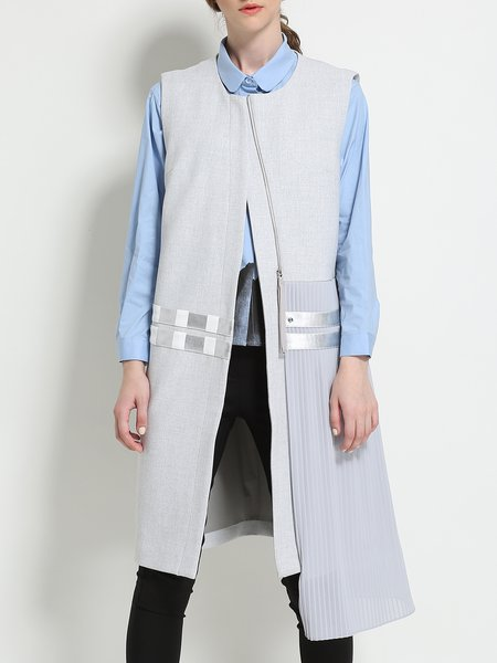 Gray Asymmetric Plain Sleeveless Tulle Paneled Vest