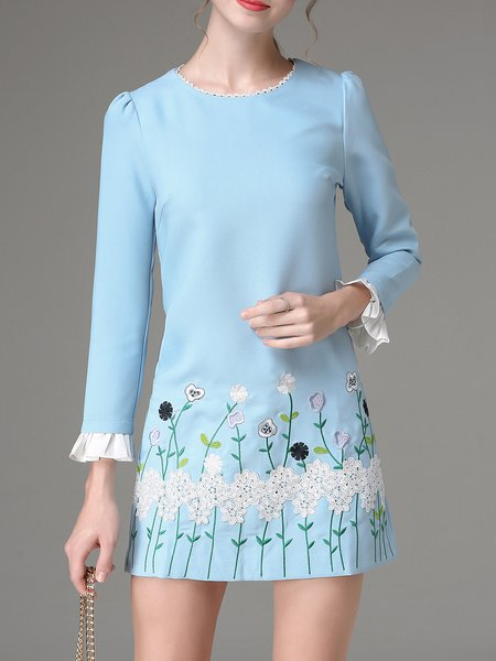 Blue Embroidered H-line Floral Cute Long Sleeve Mini Dress