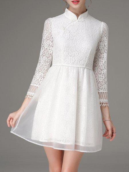 White Vintage A-line 3/4 Sleeve Lace Organza Floral Mini Dress