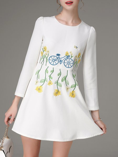 White Floral Long Sleeve Embroidered A-line Mini Dress