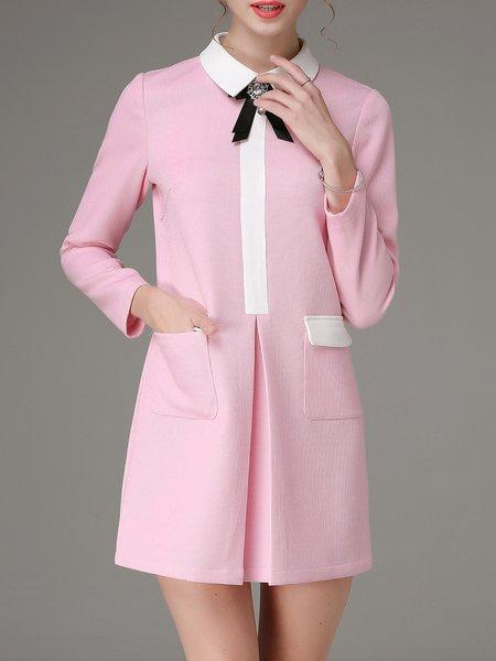 Pink Pockets Solid Girly Mini Dress