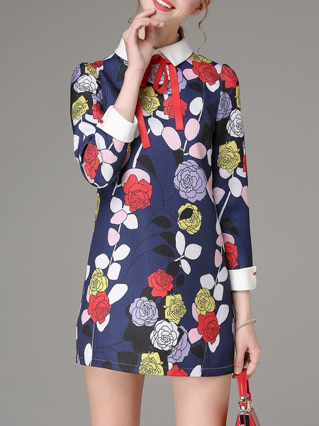 Multicolor H-line Long Sleeve Floral-print Mini Dress