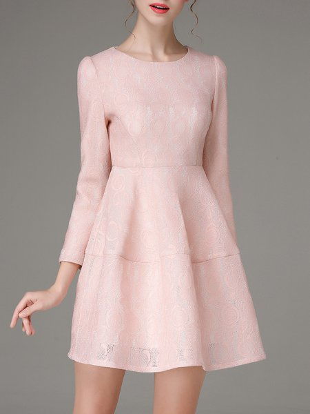 Pink Long Sleeve Crew Neck Pierced A-line Mini Dress