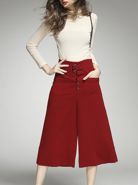 Red Polyester Two Piece Cowl Neck Casual Jumpsuit