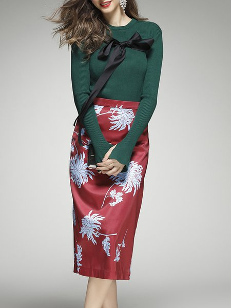 Dark Green Polyester Long Sleeve Two Piece Midi Dress