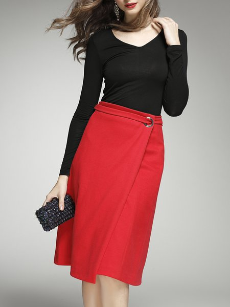 Red Two Piece Elegant Midi Dress