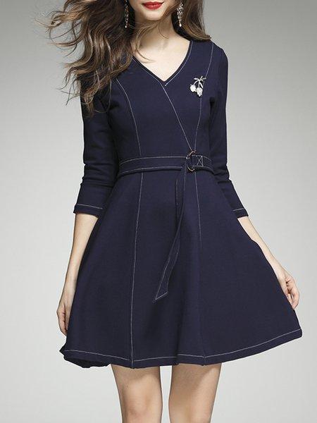 Dark Blue 3/4 Sleeve V Neck Sewing Wrap Dress