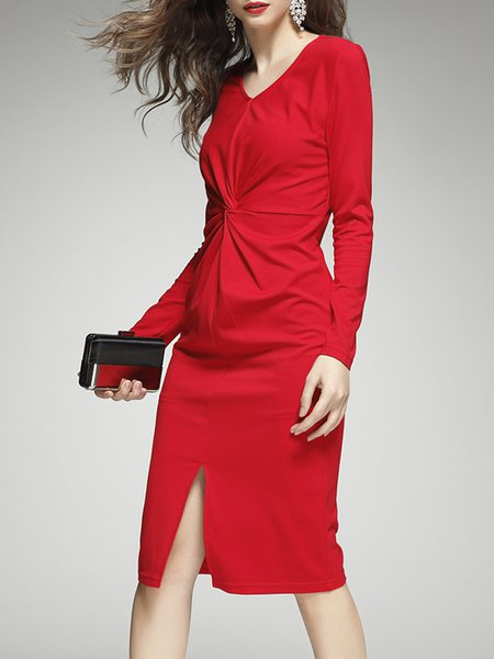 Sheath Gathered Elegant Long Sleeve Midi Dress