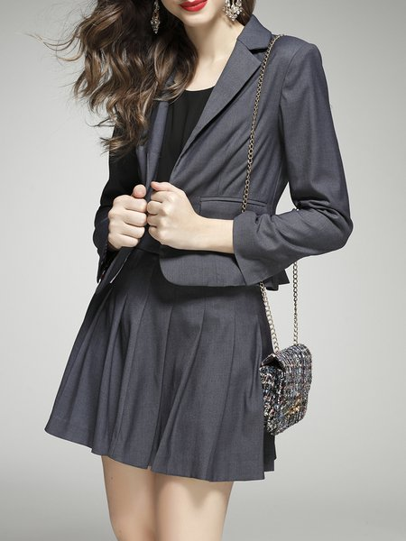 Gray Solid Two Piece Simple Pleated Mini Dress