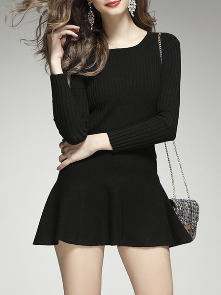 Solid A-line Long Sleeve Simple Knitted Sweater Dress