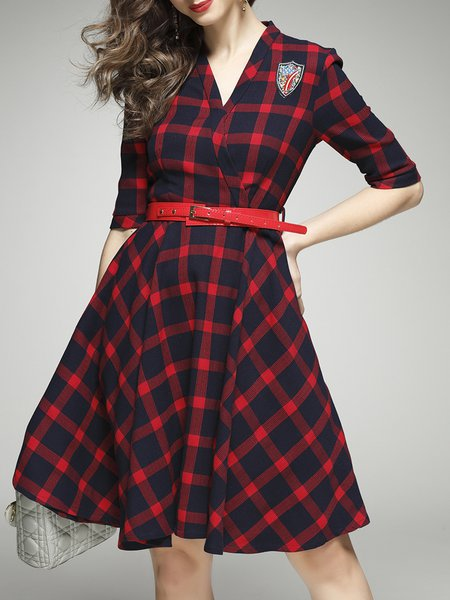 Red A-line Polyester Checkered/Plaid 3/4 Sleeve Wrap Dress