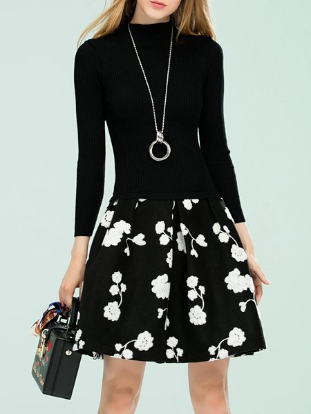 Black Paneled A-line Floral Girly Mini Dress