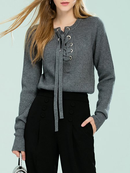 Gray Lace Up Simple Knitted Solid Sweater