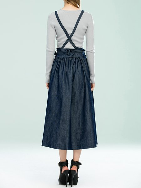 Dark Blue Solid Casual A-line Denim Midi Skirt - StyleWe.com