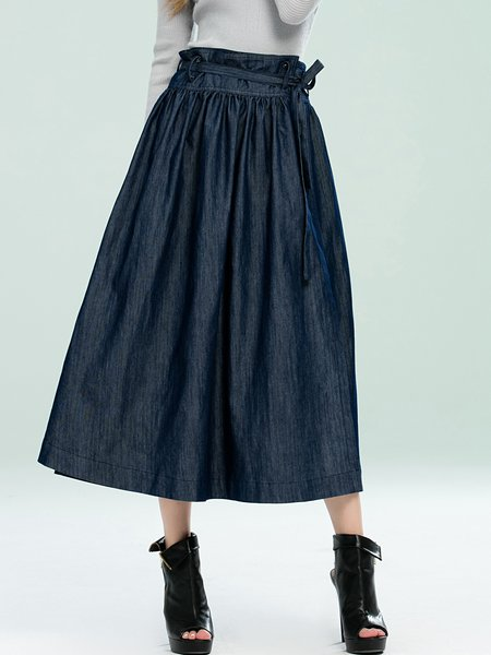 Dark Blue Solid Casual A-line Denim Midi Skirt