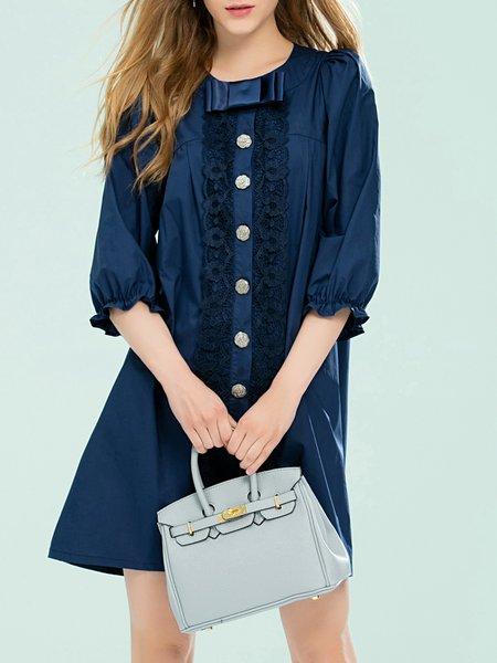Dark Blue Balloon Sleeve Girly Buttoned Mini Dress