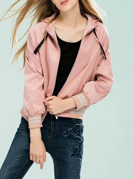 Pink Hoodie Raglan Sleeve Girly Bomber Jacket