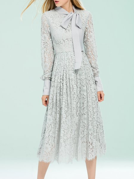 Gray Floral Long Sleeve Lace Bow-tie Midi Dress