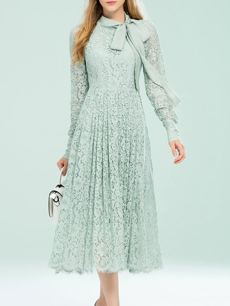 Mint Lace Floral Vintage Bow-tie Midi Dress