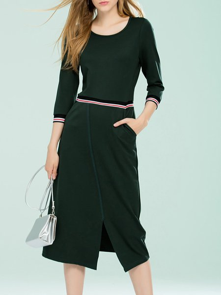 Green Slit H-line Cotton-blend Midi Dress