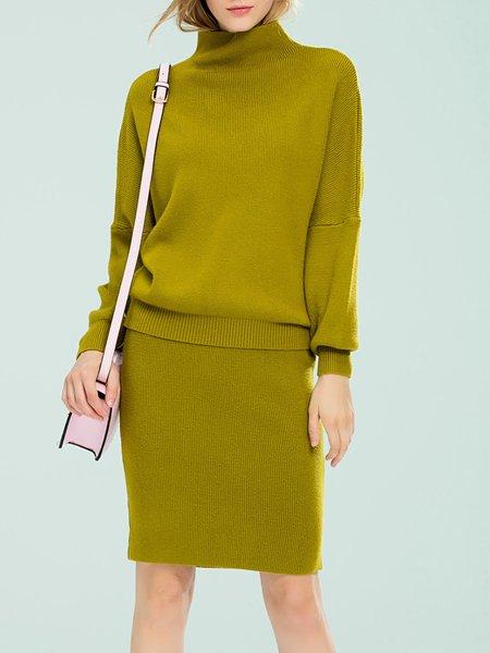 Mustard Turtleneck Two Piece Long Sleeve Sweater Dress