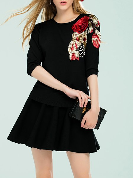 Black Girly Sequins Embroidery Two Piece Sweater Dress