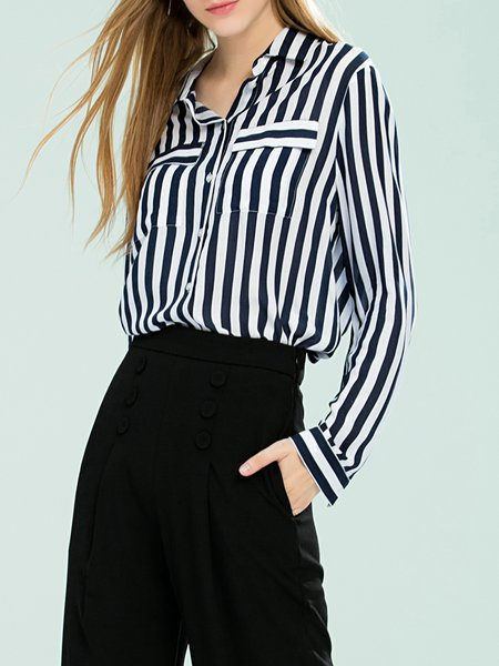 Blue Stripes Shirt Collar Long Sleeve Blouse