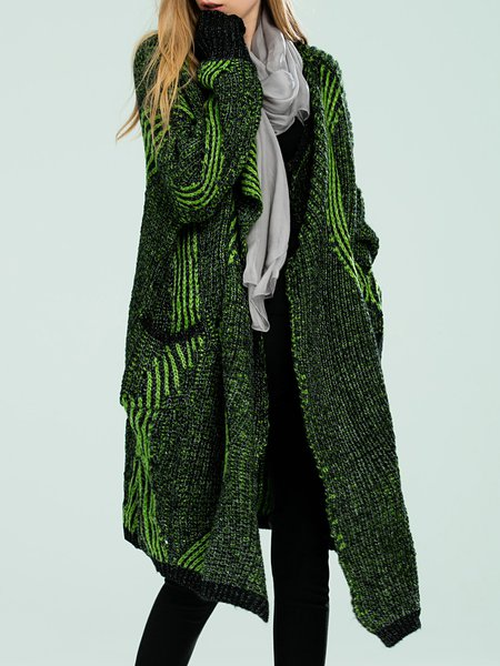 Green Wool Blend Geometric Casual Cardigan - StyleWe.com