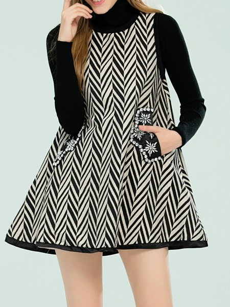 Black Girly Geometric Beaded A-line Mini Dress