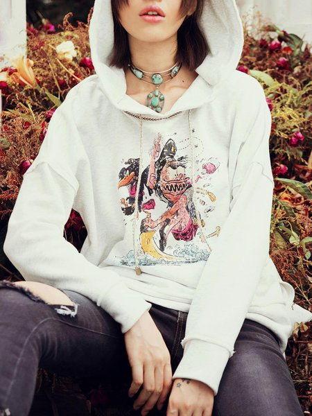 Casual Printed Long Sleeve Hoodies