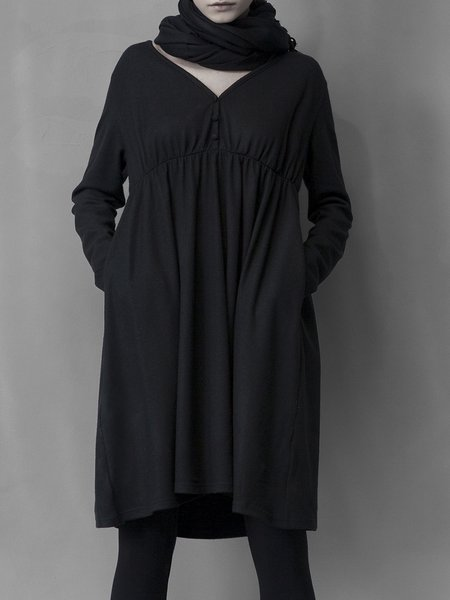 Black Pockets Solid Long Sleeve V Neck Shift Midi Dress