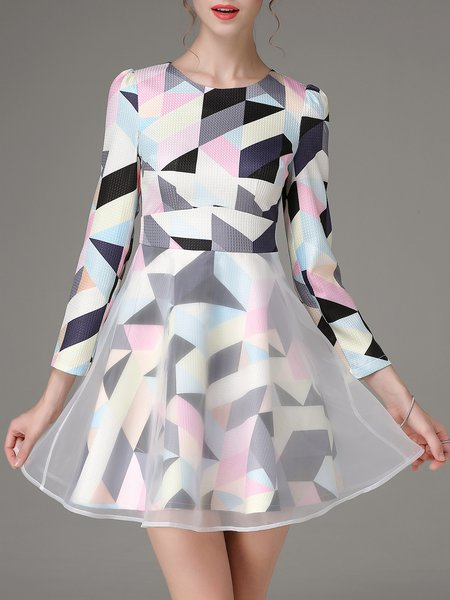 Color-block Geometric Girly Long Sleeve Skater Mini Dress